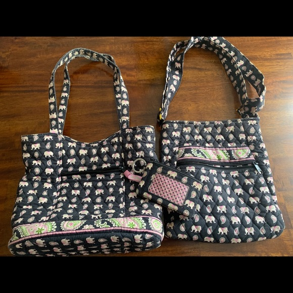 Vera Bradley Handbags - Vera Bradley Retired Pink Elephant Bags(set)